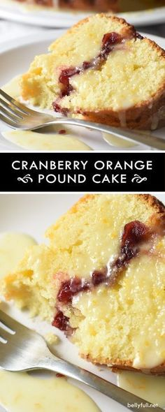 This cranberry orange pound cake is rich and buttery, with a layer of cranberry sauce inside, and a bright orange glaze. Perfect flavor combination and festive for the holidays! Just Desserts, Delicious Desserts, Dessert Recipes, Yummy Food, Desserts With Oranges, Eid Recipes, Homemade Desserts, Fall Recipes, Recipies