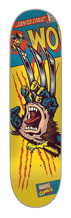 Santa Cruz Marvel Wolverine Hand Skateboard Deck, Assorted
