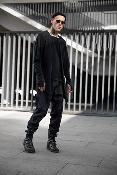 Men casual pants, black cotton trousers, gothic cyberpunk loose clothing, A0314