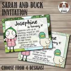Sarah & Duck Invitation. Choose from 4 by TwoBearsDesigns on Etsy
