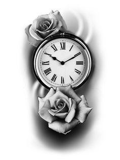Card Tattoo Designs, Free Tattoo Designs, Clock Tattoo Design, Small Tattoo Designs, Pocket Watch Drawing, Pocket Watch Tattoo Design, Pocket Watch Tattoos, Rose Drawing Tattoo, Flower Tattoo Drawings