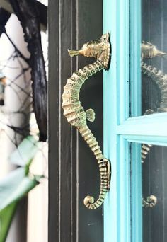 Seahorse Cabinet Door Pulls & Other Coastal Hardware Ideas Shop decorative coastal hardware for cabinet doors and drawers. All kinds of coastal ocean inspired designs. From seahorse door puss to shell knobs and much more featured on Completely Coastal. Coastal Cottage, Coastal Homes, Coastal Style, Coastal Living, Coastal Decor, Coastal Bedrooms, Cottage Entryway, Beach Cottage Kitchens, Quirky Home Decor