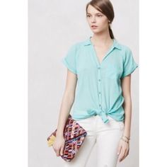 Anthropologie Hei Hei top Anthropologie Hei Hei top in light green.  100% cotton.  Great for summer with jeans or a pool coverup.  Can also be worn tied at the bottom as shown in photo 1.  Worn only a couple of times. Anthropologie Tops Tunics