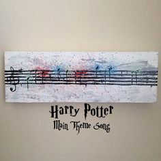 "Harry Potter, Hedwig Song, Main Theme, Watercolor Style, Sheet Music - 4"" x 12""…"