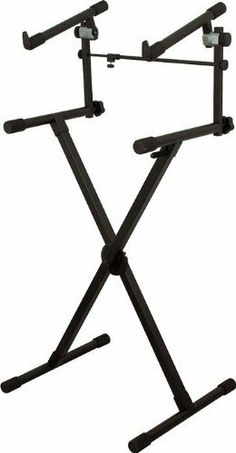 "On-Stage Stands Heavy Duty 2 Tier Keyboard X Stand by On-Stage Stands. $69.99. The top-of-the-line On-Stage Stands' keyboard X stand is built for pro-level playing with super heavy-duty tubing and welded construction. Supports 395 lbs. with height adjustment from 27""-39"" and width adjustment from 11""-30"".Uses ERGO-LOK technology for ease of use. The ERGO-LOK system includes an ergonomic trigger, an internal rod mechanism, and a solid steel spring-loaded deadbolt assembly. ..."