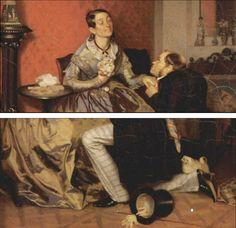 < 까다로운 신부 >, 파벨 안드레예비치 페도토프, 1847.  여인을 바라보는 남자의 눈빛이 간절하다. 모자랑 장갑까지 아예 벗어던지고 프로포즈하는 모양이다. 여자는 남자에게 받은 것인지 한 손으로는 꽃다발을 쥐고 있는데, 행복에 겨워보인다. 왜 제목이 까다로운 신부인지 모르겠지만, 프로포즈를 한 번에 OK하지는 않나 보다. 좋으면서도 쉽게 허락하지 않음으로써 남자의 애를 태우고.... 소위 말하는 '밀당'의 현재진행형이다. 남자 옆에 이 모습을 바라보는 하얀 강아지가 이 상황을 이해하는 것 같아 웃음을 자아낸다.
