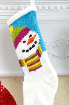 """Free Knitting Pattern for Snowman Stocking - Christmas stocking with colorwork snowman. Circumference: 12"""" Length: 17"""". Designed by Premier Yarns Design Team"""
