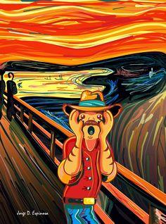 afiche, edvard Munch, mustache, el capataz, la patrona, 90´s, ilustracion, el grito, art, parody, pop culture, by Jorge D. Espinosa