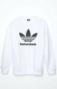 adidas – The Hundreds Mesh Trefoil Sweatshirt – Mens Hoodie – White
