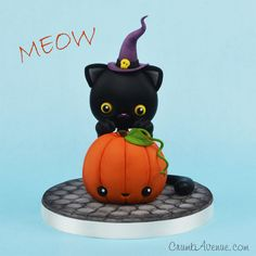 Halloween Pumpkin and a Cat by Crumb Avenue