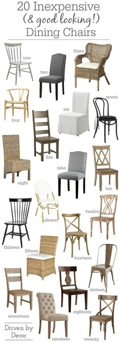 Great post on where to find attractive and affordable dining room chairs along with links to 20 favorites! #chairs #diningchairs