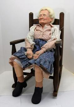 """AUNT IDA"" Antique DOLL AND CHAIR"