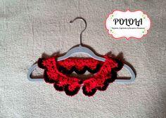Cuellito tejido a crochet en color rojo y negro. Trabajo artesanal hecho a mano Crochet Earrings, Jewelry, Fashion, Red, Black People, Craft Work, Handmade, Colors, Jewellery Making
