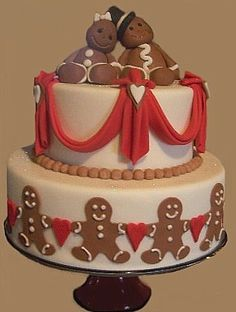 Christmas Wedding Cake ~ CakeArt  by Margi Chambers