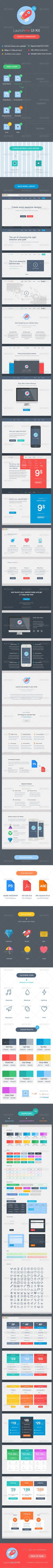 Launchme Website Wireframe UI Kit Template PSD #userinterface Download: http://graphicriver.net/item/launchme-website-wireframe-ui-kit/7386364?ref=ksioks