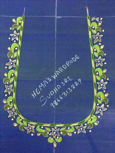 Simple Blouse Designs, Bridal Blouse Designs, Blouse Neck Designs, Hand Work Embroidery, Simple Embroidery, Embroidery Designs, Hand Designs, Flower Designs, Mirror Work Blouse Design