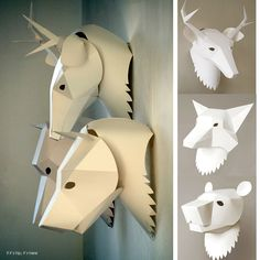 Soroche Creates 3D Paper Animal Masks For The Wall. Or Your Head. | http://www.ifitshipitshere.com/3d-paper-animal-masks-wall-head-soroche-labs/