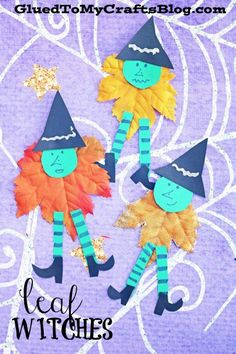 Leaf Witches - Halloween Kid Craft Idea