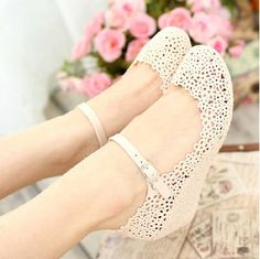 Lady Hollow Flower Round Toe Wedge Heels Mary Jane Shoes Sandal Med Heel 3 5cm | eBay