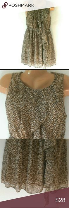 """Sheer Animal Print Dress With Front Flounce Sz 8 This H&M dress is in excellent condition perfect for the spring and summer.  It's made of a beautiful sheer animal print fabric and it is fully lined.  Measured laying flat: chest: 18""""  Waist 13"""" - 21""""  elastic waist. Length: 36"""" from shoulder seam to bottom of dress.  My home is smoke free and pet free.  I am a very fast shipper.  Be sure to check out the other items in my closet to bundle two or more items for a great discount.  I AM ALWAYS…"""