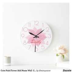 Cute Pink Flower Add Name Wall Clock Nursery Room, Nursery Wall Art, Girl Nursery, Wall Art Decor, Nursery Decor, Cute Clock, Playroom Decor, Cute Pink, Diy Design