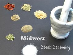 Midwest Steak Seasoning Recipe (and the new Infared Charbroil Grill! Homemade Spices, Homemade Seasonings, Homemade Gifts, Seasoning Recipe, Seasoning Mixes, Paleo Sauces, Paleo Recipes, Spice Mixes, Spice Blends