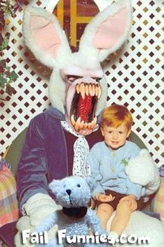 Creepy Easter Bunny Pictures - Don't Show These to The Kids Photomontage, Easter Bunny Pictures, Horror, Awkward Photos, Creepy Pictures, Macabre, Fantasy, Graphic, Hilarious