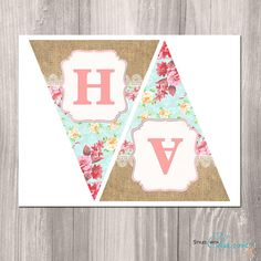 Shabby Chic Printable Banner Floral Banner Girl by StyleswithCharm Boss Birthday Gift, Birthday Presents For Mom, Birthday Diy, 1st Birthday Parties, Girl Birthday, Birthday Cakes, Baby Shower Table Cloths, Digital Banner, Floral Banners