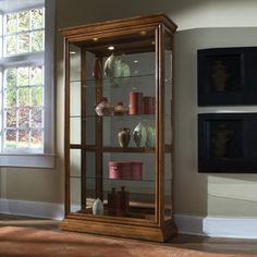 Pulaski 2 Way Sliding Door Curio Cabinet in Golden Oak, Brown Pulaski Furniture, Home Furniture, Best Platform Beds, Kitchen Cabinet Storage, Storage Drawers, Storage Cabinets, Golden Oak, Wood Glass, Brown Wood