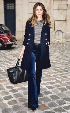 Navy coat with pretty bell bottoms