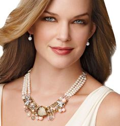 "Goldtone and silvertone. Faux pearls, beads and charms with rhinestone accents. Necklace, 17"" L with 3"" extender. Faux pearl pierced earrings.    GOOD TO KNOW  All of Avon's jewelry is nickel-free for those with sensitive skin & allergies to nickel. $14.99 Sale"