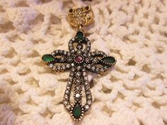 Deco 2.77ctw Ruby, Emerald, & Icy White Sapphires Rose Gold/925 Sterling Silver Cross Pendant 8 Grams, Size 52.75 x 31.42mm by TamisVintageShop on Etsy