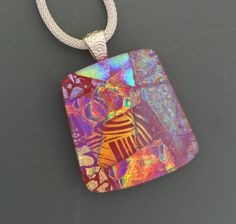 Picasso Pendant Square Dichroic Glass Statement by GlassCat