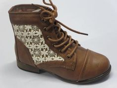 Girl-Lace-up-Boots-Chapter30k-Youth-Crochet-Ankle-Boottie-Tan-Combat-Military