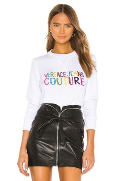 Versace Jeans Couture Lady Light Sweater in Bianco Ottico   REVOLVE