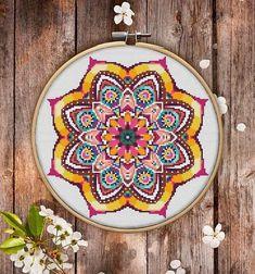 Mandala Flower Cross Stitch Pattern for Instant Download