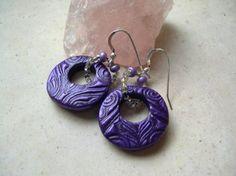 Deep Purple Polymer Clay Earrings
