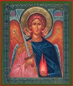 """Archangel Uriel """"Fire of God"""" Russian Silk Orthodox Icon Religious Icons, Religious Art, Seven Archangels, Archangel Prayers, Angels Among Us, Archangel Michael, Miguel Angel, Guardian Angels, Tarot"""