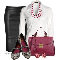 """""""Pencil Skirt and Flats"""" by christa72 on Polyvore"""