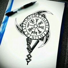 Sorry it's not a tattoo but it's for fans of Vikings like me Viking Tattoo Symbol, Norse Tattoo, Viking Tattoo Design, Celtic Tattoos, Viking Compass Tattoo, Wiccan Tattoos, Inca Tattoo, Indian Tattoos, Viking Tribal Tattoos
