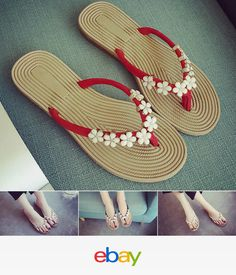 125928160a6460 Womens Girls Flower Ribbed Chip Thong Slipper Flip Flops Flat Shoes Beach  Summer Clogs Shoes