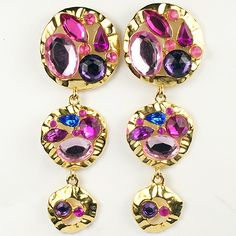 Park Lane Beaten Gold and Multicolour Foiled Gems in drop earrings