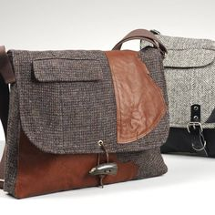 One of a kind manbags created from vintage Harris Tweed jackets, distressed leather and contemporary tweeds and tartan - each one entirely unique.Named after Scotland's Munro range of mountains we have currently in stock: Aonach Meadhoin - Grey Herringbone with Black Leather and Black webbing strap Ben Vorlich - Traditional Brown Herringbone with multi colours woven throughout, brown leather strapThese are fabulous strong and dynamic manbags handcrafted from vintage Harris Tweed jackets…