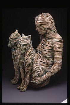 Triad I   Adrian Arleo is a ceramic sculptor ; clay, glaze, wax encausti