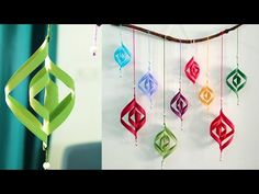 May 2019 - Attractive Paper Wall Hanging Paper Wall Hanging, Paper Wall Decor, Wall Hanging Crafts, Paper Folding Crafts, Easy Paper Crafts, Paper Crafting, Birthday Wall Decoration, Diy Diwali Decorations, Paper Christmas Decorations