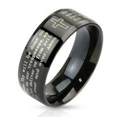Lords Prayer Ring  Black 316 Stainless Steel chrome ring laser etched with the Lord's Prayer.  sizes 05-13  fits men and women.