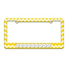Baseballs - Sports - License Plate Tag Frame - Yellow Chevrons Design