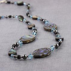 Paua Shell Jewelry Aquamarine Necklace Gray Pearl Necklace Black Onyx Jewelry Abalone Jewelry Aqua Blue Paua Shell Necklace Beach Fashion