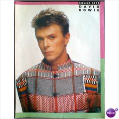 David Bowie pin up poster. David in multicoloured jacket Smash Hits Magazine