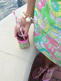 At a Lilly party, our koozies match our sundresses!
